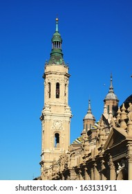 Bell tower of Basilica of Our Lady of the Pillar in Zaragoza, Aragon Province, Spain