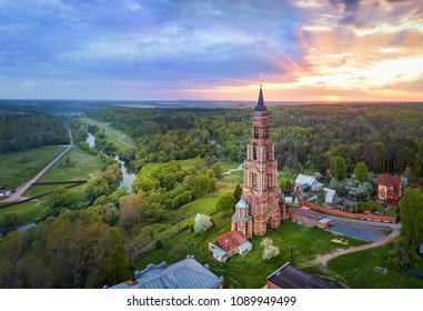 Bell Tower (built in 1895-1899) located on Ivanova Gora in Glubokovo village on Nara river side, Moscowskaya oblast, Russia (aerial view)