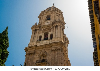 Bell tower of the Cathedral of the Incarnation in Malaga, Costa del Sol, Andalusia, Spain