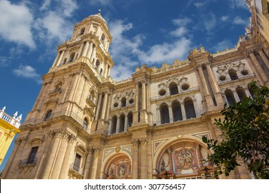Bell tower of the Cathedral of the Incarnation in Malaga, Spain