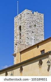 The bell tower of the Cathedral of Our Lady of the Assumption in Antibes. Antibes is a resort town in the Alps-Maritimes department in southeastern France between Cannes and Nice, Cote d'Azur.
