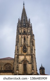 Bell tower of cathedral in Oviedo, capital city of the Principality of Asturias in northern Spain