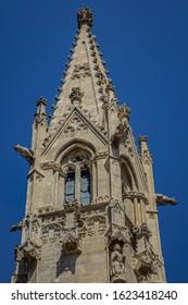 Bell tower of Church of the Annunciation (Kostol Zvestovania), a Franciscan Church and Monastery. Frantiskanske namestie, Bratislava, Slovakia. - Shutterstock ID 1623418240