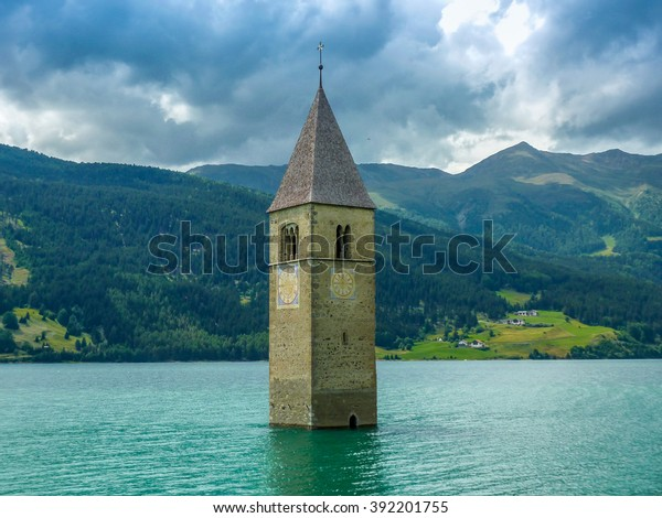 Bell tower of the Church in the Resia lake - 3