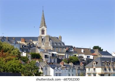 Bell tower of church Saint Gilles of Pornic in Pays de la Loire region in western France