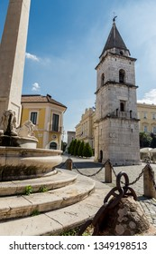 Bell Tower of the church of Santa Sofia in Benevento, Campania, Italy, UNESCO world heritage. Garibaldi Street in Old Town of Benevento, Italy