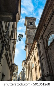 Bell tower of Church of SS Martiri, Turin, Italy Turin,Italy,Europe - February 16, 2017 : View of the bell tower of the Santissimi Martiri church in old city of Turin