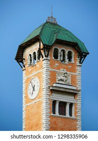 Bell Tower and clock in Asiago Italy