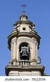 bell tower close up of the Baroque church in Albonese , Pavia Italy