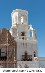 bell tower in construction of the Mission San Xavier del Bac, which is a historic Spanish Catholic mission located in Tucson, Arizona