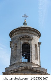 Bell tower with a cross of the ancient Byzantine Church of John the Baptist built in the 6th century in the city of Kerch on the Crimean Peninsula
