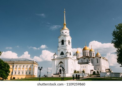 Bell Tower Of The Dormition Cathedral In Vladimir, Russia. Dormition Cathedral In Vladimir - Assumption Cathedral. Used To Be A Mother Church Of Medieval Russia In The 13th And 14th Centuries.