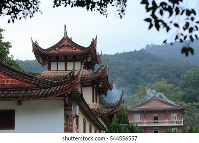 bell tower and drum tower and mountain faraway