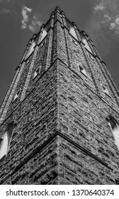 Bell tower of an early-20th Century Episcopal cathedral in Norfolk, Va. The church's Gothic architecture is inspired by that of England.