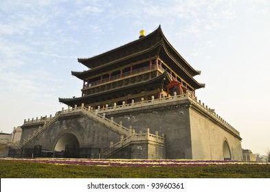 The Bell Tower, a famous landmark in the center of Xian City - China