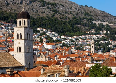 Bell tower of the Franciscan Church and Monastery in Dubrovnik, Croatia, originated in the 13th century, destroyed in the 1667 earthquake, rebuilt in the 17th century.