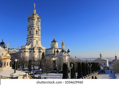 bell tower of the Holy Dormition Pochayiv Lavra in the morning sunlight, Ukraine