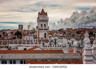 Bell tower and kupola of San Felipe Neri Monastery at Sucre, Bolivia