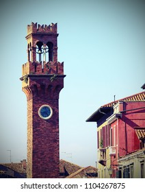 bell tower on the island of Murano near Venice in northern Italy with vintage effect