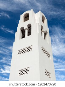 Bell tower of Orthodox Metropolitan Cathedral Church of Candlemas of The Lord in Fira, Santorini island, Cyclades, Greece