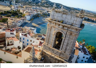Bell Tower of Peniscola Castle and the town, Costa del Azahar, province of Castellon, Valencian Community. Peniscola is a popular tourist destination in Spain.