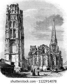 Bell tower of Pey-Berland and Cathedral Church of St. Andrew, vintage engraved illustration. Magasin Pittoresque 1844.