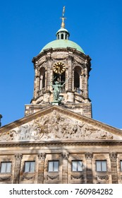 The bell tower of the Royal Palace in Amsterdam, Netherlands.