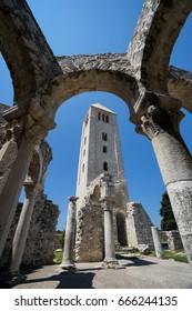 Bell tower & ruins of Church of St. John the Evangelist in Rab Town, Rab Island, Croatia