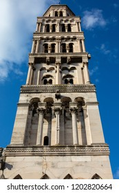 Bell Tower of the Saint Domnius Cathedral in Split, Croatia, constructed in 1100 in the Romanesque style.