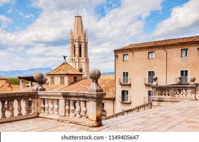 The bell tower of Sant Feliu Collegiate Church, from the Cathedral of Saint Mary of Girona,  Girona, Catalonia, Spain.