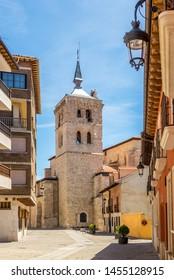 Bell tower of Santa Maria la Real church in the streets of Aranda de Duero - Spain