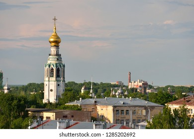 Bell tower of St. Sophia Cathedral. Vologda region, Russia.