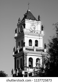 Bell tower of Sucre Cathedral, Sucre, Bolivia. Black and white image.