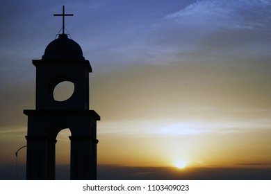 Bell tower and sunset