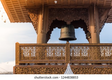 The bell tower in the temple is made of wood carved beautifully.in thailand.Thai people in ancient times use the bell to tell time.