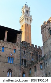 Bell tower - Torre del Mangia - town hall, back side, Siena, Tuscany, Italy.