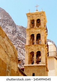 Bell Tower at UNESCO World Heritage Site of Saint Catherine Monastery at the foot of  Mount Sinai on the Sinai Peninsula. Mount Sinai  is a possible location of the biblical Mount Sinai.