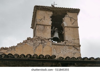 Bell tower of Visso destroyed by big earthquake