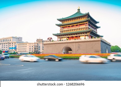 Bell Tower of Xi'an City. Built in 1384 during the early Ming Dynasty, is a symbol of the city of Xi'an and one of the grandest of its kind in China. Located in Xi'an City, Shanxi Province, China.