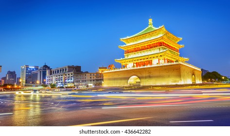 Bell Tower of Xi'an at night. Built in 1384 during the early Ming Dynasty, is a symbol of the city of Xi'an and one of the grandest of its kind in China. Located in Xi'an City, Shanxi Province, China.