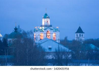 Bell tower of Yaroslavl Transfiguration monastery in spring twilight