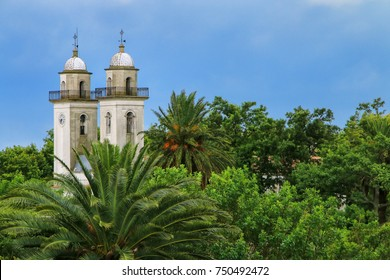 Bell towers of Basilica of the Holy Sacrament in Colonia del Sacramento, Uruguay. It is one of the oldest towns in Uruguay