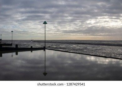 Bell wharf beach on a cloudy winter's day, Leigh-on-Sea, near Southend, Essex, England