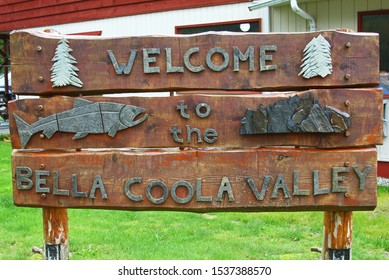 Bella Coola Valley, British Columbia, Canada - September 21, 2019: wooden welcome sign