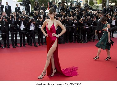 "Bella Hadid attending the ""The Unkown Girl (La Fille Inconnue)"" film premiere during The 69th Cannes Film Festival, on 18th May 2016 at Palais des festivals in Cannes, France."