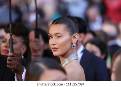 Bella Hadid attends the screening of 'Blackkklansman' during the 71st annual Cannes Film Festival at Palais des Festivals on May 14, 2018 in Cannes, France.