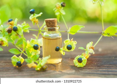 belladonna essential oil in a beautiful bottle on the table