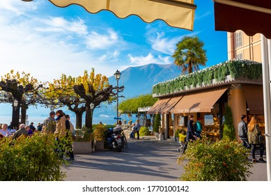 Bellagio (CO) / Italy - October 28, 2017: Tourists walking in Bellagio, Como, Italy near the shore of Lake Como.