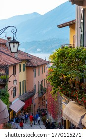 Bellagio (CO) / Italy - October 28, 2017: A shopping street in Bellagio, Como, Italy.