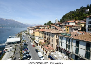 Bellagio, Italy - 13 April 2015: People visiting on walking the village of Bellagio on lake Como, Italy